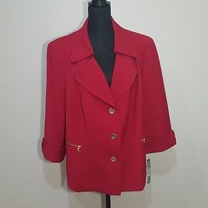 Tahari Red Blazer Jacket with Gold Details NWT